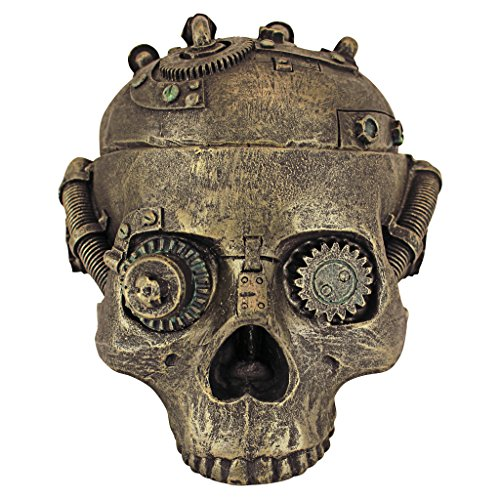 Design Toscano CL6067 Vaso di Contenimento del Cranio di Steampunk, Bronzo
