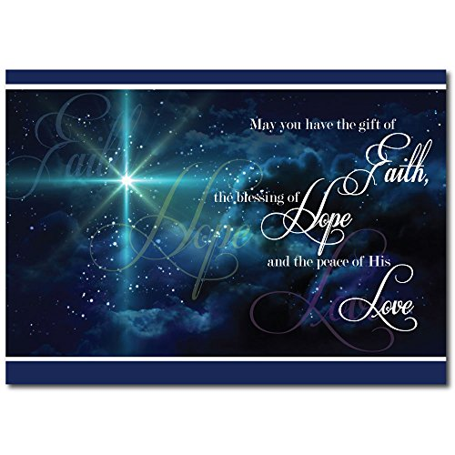 Christian Christmas Greeting Card H1503. The Spirit and Peace of Christ's love is projected on the cover and also on the verse inside. Silver foil-lined envelopes.