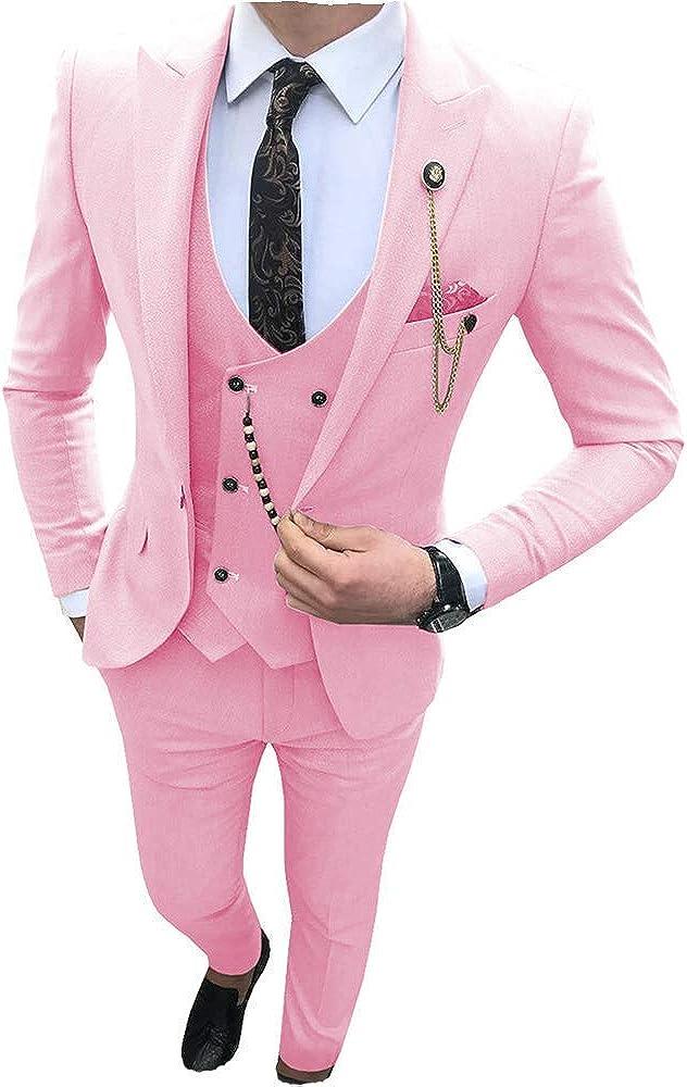 MLAEKT Men's Suits Slim Fit 3 Pieces Prom Tuxedos Notch Lapel Groomsmen Wedding (Blazer+Vest+Pants)