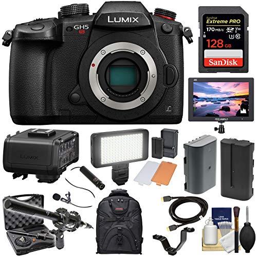 Panasonic Lumix DC-GH5S Wi-Fi C4K Digital Camera Body with DMW-XLR1 Adapter + 128GB Card + Battery + Backpack + Monitor + LED Light + 2 Mics Kit
