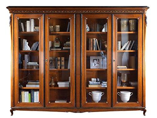 Boekenkast van hout met glazen deuren, meubels met snijwerk voor woonkamer/kantoor, boekenkast 3 meter met poten, 2 glazen deuren