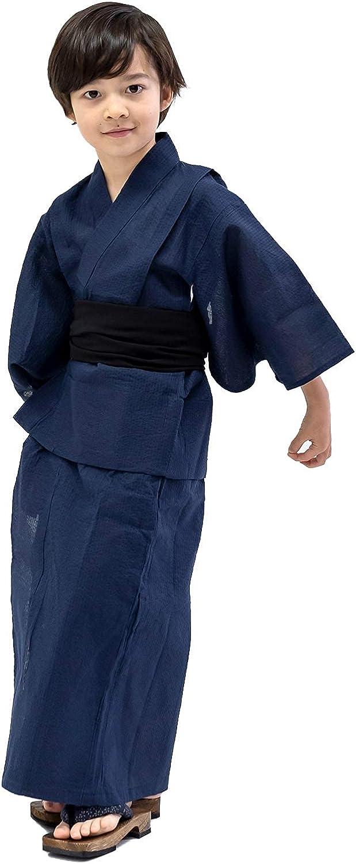 KYOETSU Boy's Yukata 2-Piece Set (Yukata/Obi) Cotton Linen