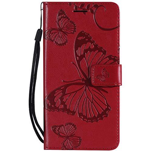 Yiizy Handyhüllen für Huawei Honor 8A Ledertasche, Schmetterling 3D Stil Lederhülle Brieftasche Schutzhülle für Huawei Honor Play 8A hülle Silikon Cover mit Magnetverschluss Kartenfächer (Rot)