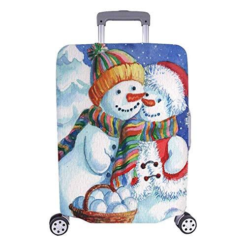 Muñecos de Nieve Pareja con Bosque nevado Viajeros navideños Opción Equipaje de Viaje con Ruedas...