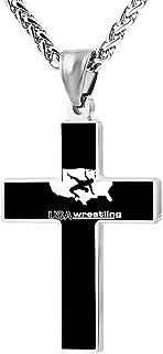 USA Wrestling Fashion Custom Cross Necklace Cross Prayer Christ Necklace Pendant 24 Inch Crucifix Pray Ornaments Unisex
