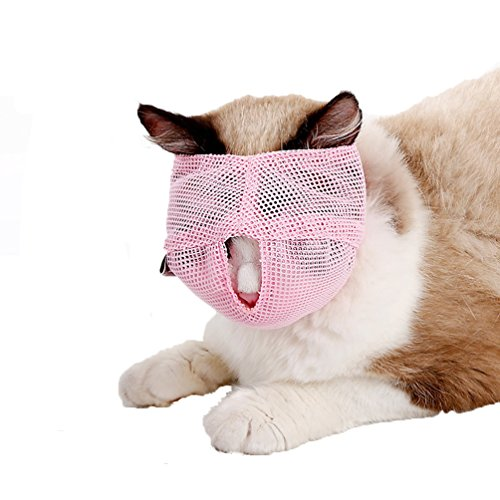 BBEART Cat Muzzles,Breathable Mesh Muzzles Adjustable Cat Mask Mouth Cover Anti Biting and Chewing - Anti Bite Anti Meow (L, Pink)