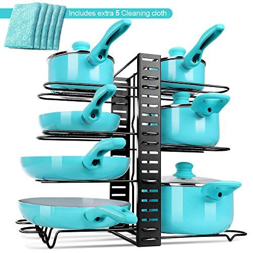 MASTERTOP Organizador de Sartenes y Ollas Resistente con 8 Capas de Soporte Ajustables Estante y Soporte para Utensilios de Cocina con 5 Paños de Microfibra como Regalo