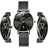 OLEVS Thin Watches for Women Waterproof Black Inexpensive Couples Minimalist Watches Stainless Steel with Date Women Analog Quartz Watch for Birthday Party Christmas Valentine's Day