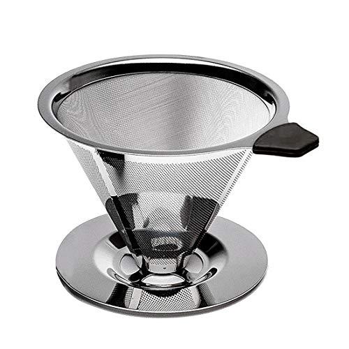 FineInno Filtro Cafetera Goteo Coffee Dripper Filter Filtro de Café Permanente Acero Inoxidable,Sin Papeles, con el Soporte...