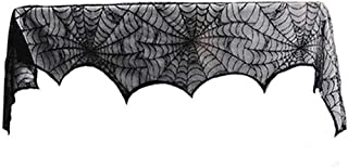 Guoshang Spider Web Fireplace Mantel Scarf Cover Halloween Festive Party Supplies Decoration,18x96inch