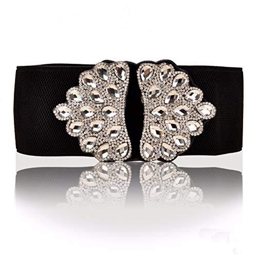 Zhenz Cinturón de Piedras Preciosas de Las Mujeres de Piedras Preciosas Blancas Cinturones elásticos Faja Cintura elástica de Cristal Occidental,Peacock,63cm