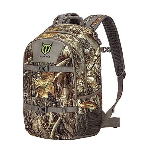TIDEWE Hunting Backpack with Waterproof Rain Cover, 25L Realtree Edge Camo Hunting Pack, Durable Hunting Day Pack for Bow Rifle Gun