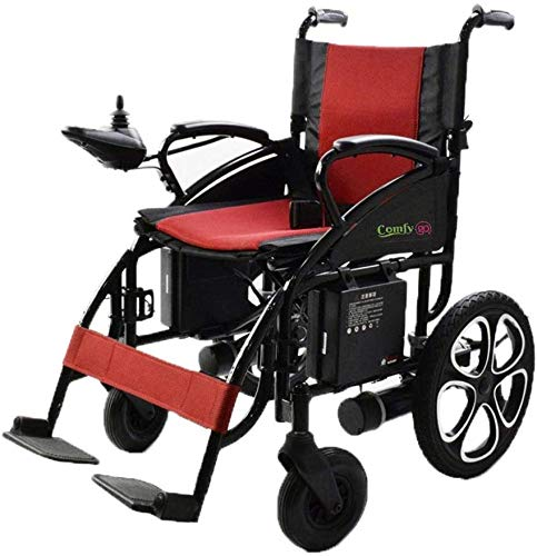 Culver Electric Power Wheelchair Scooter Fold & Travel Folding Safe Electric Wheelchair Motorized Aviation Travel Heavy Duty Power Wheelchair Silla de Ruedas Electrica (Lead Acid-Red)