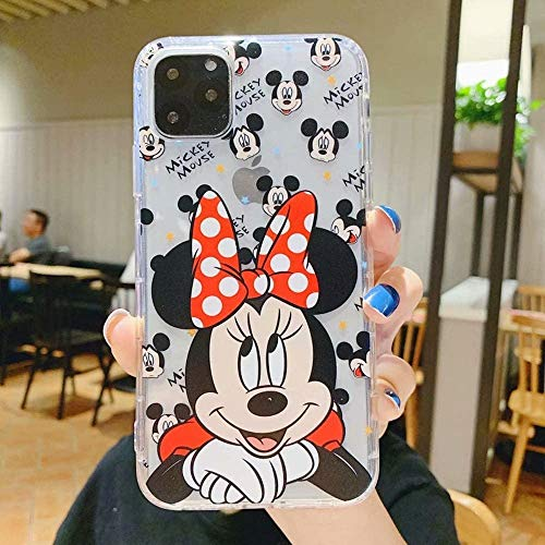 Max-ABC Compatible with iPhone 12 Pro Max Case Clear Mickey Minnie Mouse Cute Cartoon Soft Flexible TPU Ultra Thin Slim Transparent Protective Cover Clear Case Designed for iPhone 12 Pro Max 6.7''Red