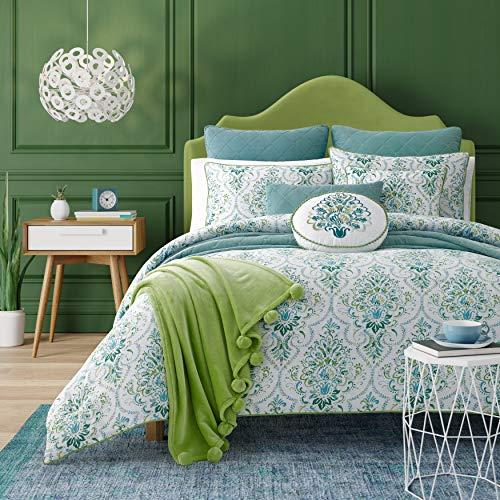 Five Queens Court Teal Kinsley Bohemian 3 Piece Comforter Set, King 110x96