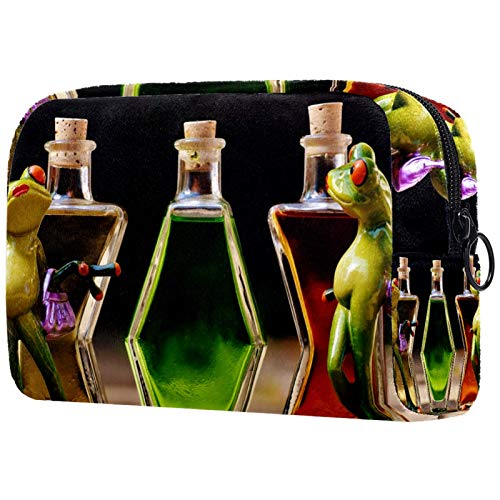 Bolsa de Maquillaje Bolsa de Viaje Bolsa de cosméticos Bolso de Mano con Cremallera - Las Ranas disfrutan Bebiendo Vino