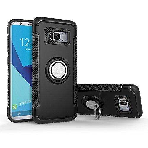 Shinyzone Coque Samsung Galaxy S8 Porte-Anneau Béquille Fonction, [Fibre de Carbone Antidérapant] [Support de Voiture Magnétique] Double Couche TPU + PC Design-Noir