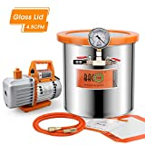 BACOENG 3 Gallon 4.5 CFM Tempered Glass Lid Vacuum Degassing Chamer and Pump Kit, Perfect for Stabilizing Wood, Degassing Silicones, Epoxies and Essential Oils