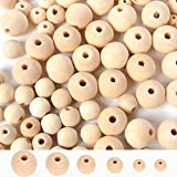 700pcs Natural Wooden Beads for Crafts Loose Solid Wooden Spacer Beads Assorted Round Wood Ball for...