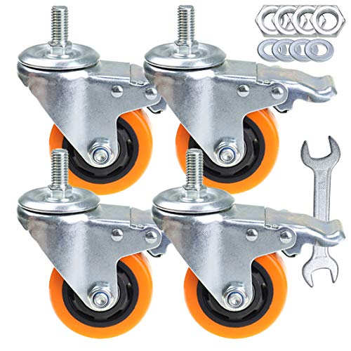 Stem Casters Aozel Heavy Duty Swivel Threaded Stem Caster Wheels with American Size 1/2''-13x1'' Thread Dual Locking Wheel with Brakes Pack of 4 (3 Inch)
