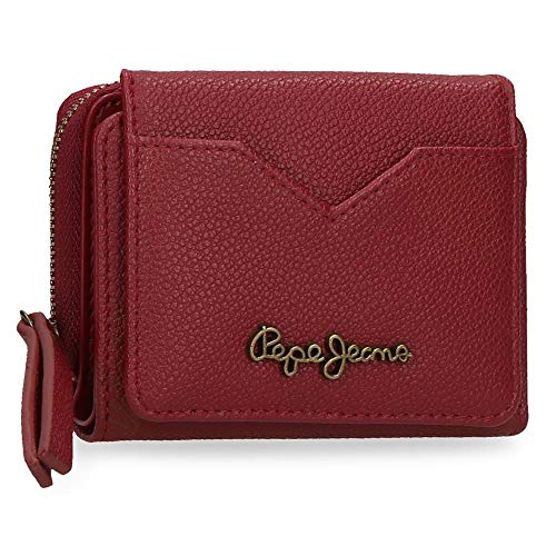 Pepe Jeans India Billetero con Monedero Rojo 10x8x3 cms Piel Sintética