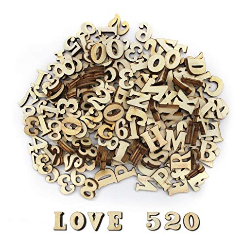 200 piezas Letras de Madera y Números de Madera Dylan-EU Alfabeto de Madera - Letras Mayúsculas 15 mm para Bodas Decoraciones de Cumpleaños Educación Juegos Infantiles DIY