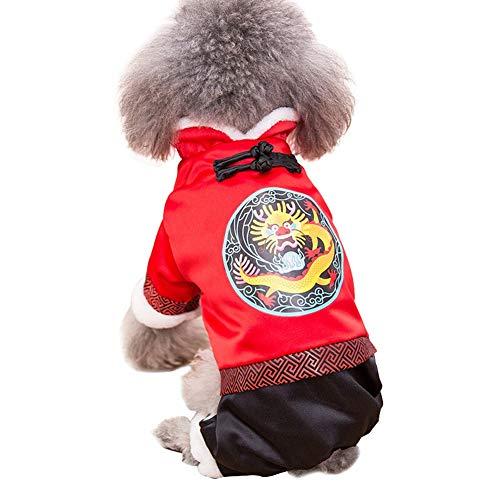 ZCY Huisdier Kleding, Hond Kat Kleding Winter Katoen Jas Tang Pak Kleine Medium Hond Nieuwjaar Kleding, Rood, S, Draak