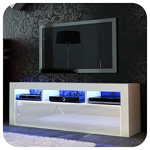 Nuovo! Superbo mobile porta TV 130 cm + nero o bianco + anta in acrilico lucido + galleggiante/supporto + LED con telecomando small White Matt + White Gloss