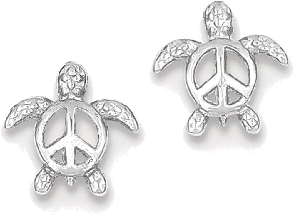 14kt White Gold Peace Turtle Post Earrings
