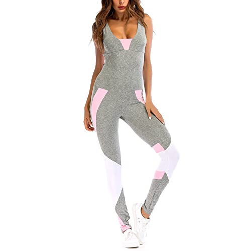 33baad893e7c Romacci Women Sport Yoga Set Contrast Color Bandage Backless Sleeveless  Fitness Jumpsuits Gym Running Bodysuits Workout