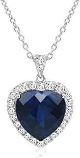Sterling Silver Heart of The Ocean Created Blue and White Sapphire Pendant-Necklace (12ct tw)