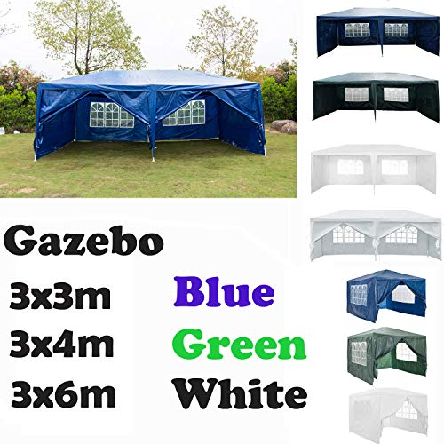 AutoBaBa Garden Gazebo Marquee 3mx6mx2.5m Garden Tent Outdoor Party Tent Steel Tube Strong Marquee, Blue, with 6 Sidewalls Side Panels (Type A)