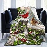 Blanket Winter Cardinal Birds Throw Blanket Ultra Soft Velvet Blanket Lightweight Bed Blanket Quilt Durable Home Decor Fleece Blanket Sofa Blanket Luxurious Carpet for Men Women Kids