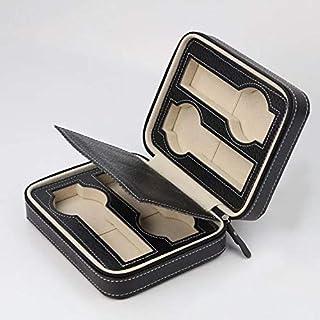 Luxury Leather Portable Watch Travel Case Black Zipper Book 4 Slots Box