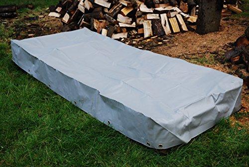 2,5 x 1 x 0,25 m QUASTA© Heavy Duty Abdeckhaube Plane Abdeckung Schutzhaube für Brennholz Heu Stroh - aus LkW-Plane (750 g/m²) - Quaderform