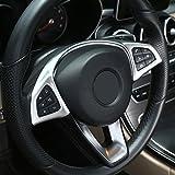 Decorazione interno auto per il telaio del volante in plastica ABS, color argento opaco pe...