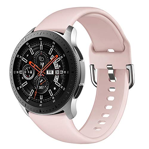 Compatible with Samsung Galaxy Watch 46mm Bands, Gear S3 Frontier/Classic Band, GHIJKL 22mm Soft Silicone Breathable Replacement Sport Strap Wristband for Galaxy Watch 3 45mm, Women Men, Sand Pink