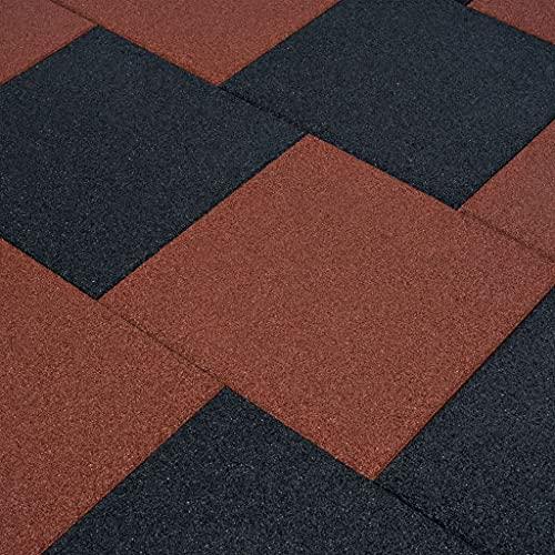 SHUJUNKAIN Losetas de Goma protección de caídas 18 Unidades 50x50x3cm Rojo Bricolaje Materiales de construcción Suelos y moquetas Rojo