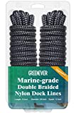 Dock Lines Boat Ropes for Docking with Loop - Excellent 5800 lbs Breaking Strength 24 Strands of Premium Nylon Double-Braided Mooring Lines with 12' Eyelet Boat Accessories (3/8' x15' 2Pack)