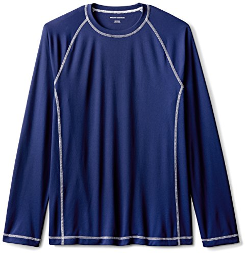 Amazon Essentials Long-Sleeve Quick-Dry UPF 50 Swim Tee Maglia Anti UV, Blu (Navy), Large