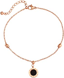 CXQ Fashion Personality Roman Numeral Ring Pendant Rose Gold Anklet Foot Ring Jewelry Accessories Gift
