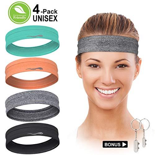 LUCKYGO Workout Headbands for Women Men, Highly Absorbent Non-slip Sweatbands, Super Soft Stretchy...
