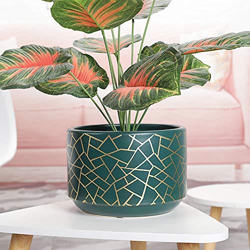 Thwarm Pot Pot plantes grasses végétales pots de fleurs en céramique Grande cylindrique Planteur avec trou en céramique Creative Container Usine Pot de fleurs Home Office Noël Nouvel An Décoration