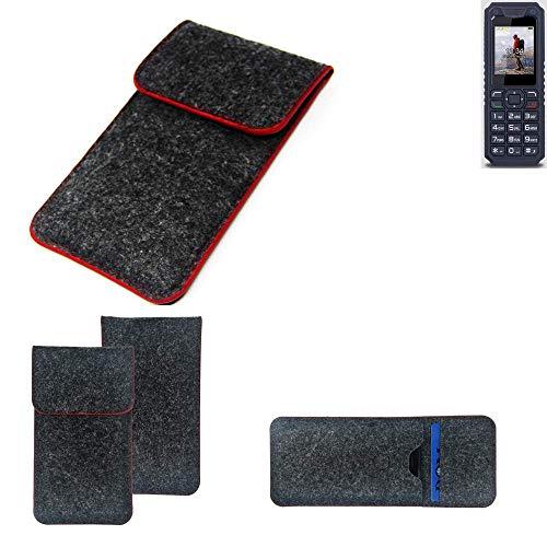 K-S-Trade Handy Schutz Hülle Für Bea-fon AL250 Schutzhülle Handyhülle Filztasche Pouch Tasche Hülle Sleeve Filzhülle Dunkelgrau Roter Rand