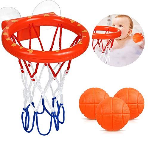 LIHAO Badespielzeug Wasserspielzeug Badewannenspielzeug Basketballkorb mit Ball Kinder Basketball Mini Bade Spielzeug Geschenk Set für Jungen Mädchen (1 STK. Basketballkorb,3 STK. Bälle )