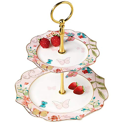 Iamagie Cupcake Stand Tower Dessert Display Plate 2-Tier Dinner Plates Pink Flower Butterfly Decal Ceramic Serving Tray Dish Treat Stacked Pastry Nut Fruit Serving Platter Carrier for Gift Tea Party