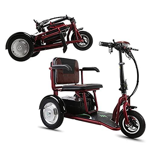 EWYI Scooters De Movilidad Plegables, Ligeros Sillas De Ruedas Eléctricas Móviles con 3 Velocidades, 3 Ruedas Scooters Triciclo De Viaje para Adultos Mayores Discapacitad 8AH/30KM