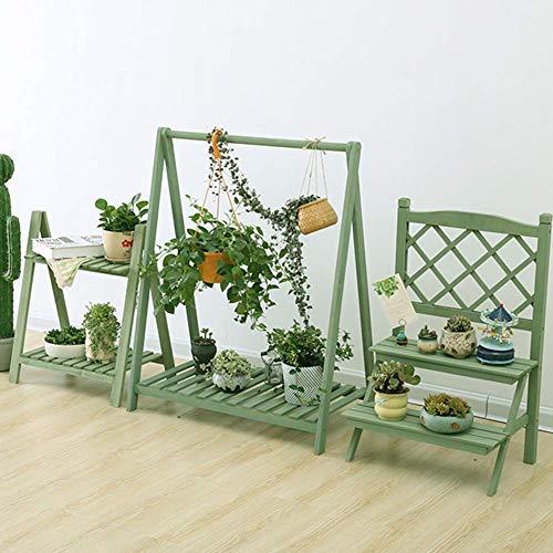AMYZ Juego de 3 Piezas de Soporte de Madera para Plantas,macetas de Plantas de múltiples Capas,Soporte de exhibición,para jardín,Patio,Esquina,Interior,Exterior,decoración,Verde