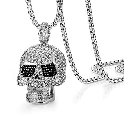 ROWIN&CO Iced Out Hip hop Bling Skull Pendant Necklaces Men Cz Diamond Personalized Punk Jewelry Birthday Gifts to Best Love Husband/Boyfriend, with 28