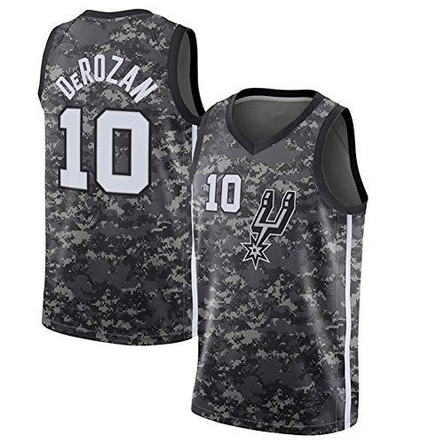 NBA San Antonio Spurs 10# Demar DeRozan Camiseta de Verano Malla Baloncesto Jersey Ropa Deportiva, Chaleco Deportivo Bordado sin Mangas Top Transpirable,Gris,S